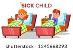 sick sad child girl  boy lies... | Shutterstock .eps vector #1245668293