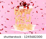 happy new year gold text gift... | Shutterstock . vector #1245682300