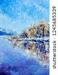 winter oil painting palette... | Shutterstock . vector #1245685339