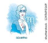 scorpio astrological sign.... | Shutterstock .eps vector #1245693169