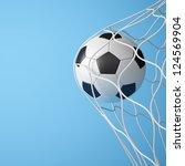 soccer ball in net on blue... | Shutterstock . vector #124569904