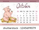 calendar for october 2019  year ... | Shutterstock .eps vector #1245699079