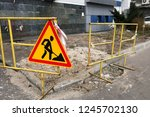 close up of sign of road... | Shutterstock . vector #1245702130