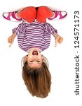 young girl upside down isolated ... | Shutterstock . vector #124571173