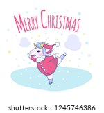 cute unicorn skates with a...   Shutterstock . vector #1245746386