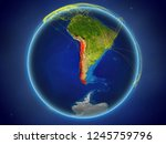 chile from space on planet... | Shutterstock . vector #1245759796