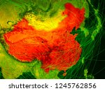 china on digital map with... | Shutterstock . vector #1245762856