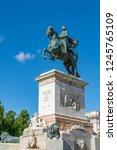 monument of felipe iv on plaza... | Shutterstock . vector #1245765109