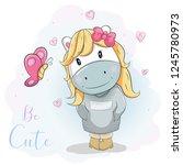 cute cartoon pony in blue jumper | Shutterstock .eps vector #1245780973