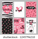 Stock vector set of valentine s day greeting cards with hand written greeting lettering and decorative textured 1245796210