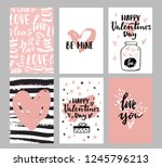 set of valentine's day greeting ... | Shutterstock .eps vector #1245796213