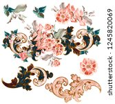 set of vector baroque ornaments ... | Shutterstock .eps vector #1245820069