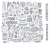 various hand drawn food. doodle ... | Shutterstock .eps vector #1245823723