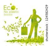 green shopping bag.... | Shutterstock . vector #124582429