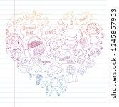 language school for adult  kids.... | Shutterstock .eps vector #1245857953