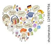 language school for adult  kids.... | Shutterstock .eps vector #1245857956