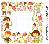 small children eating ice cream.... | Shutterstock .eps vector #1245859390
