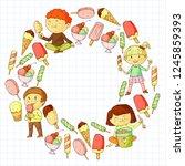 small children eating ice cream.... | Shutterstock .eps vector #1245859393