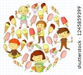 small children eating ice cream.... | Shutterstock .eps vector #1245859399