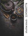 black iron asian tea set on... | Shutterstock . vector #1245860776