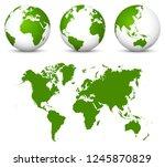 green 3d vector world   globe... | Shutterstock .eps vector #1245870829