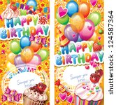 happy birthday vertical cards | Shutterstock .eps vector #124587364