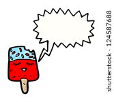 cartoon ice lolly with speech... | Shutterstock .eps vector #124587688