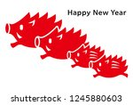 new year card with wild boar... | Shutterstock .eps vector #1245880603