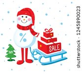 christmas sale poster  with... | Shutterstock .eps vector #1245890023