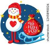 snowman vector illustration ... | Shutterstock .eps vector #1245890026