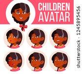 girl avatar set kid vector.... | Shutterstock .eps vector #1245895456