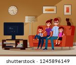 family watching tv. children... | Shutterstock .eps vector #1245896149