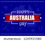 happy australia day card with... | Shutterstock .eps vector #1245921580