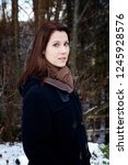 portrait of young brunette... | Shutterstock . vector #1245928576