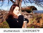 portrait of brunette young... | Shutterstock . vector #1245928579
