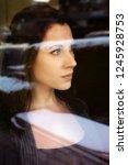 portrait of brunette young... | Shutterstock . vector #1245928753