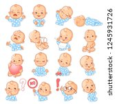 set with baby stickers. cute... | Shutterstock .eps vector #1245931726