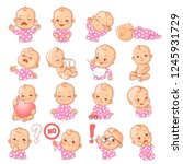 set with baby stickers. cute... | Shutterstock .eps vector #1245931729