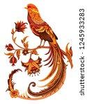 golden pheasant. embroidery... | Shutterstock .eps vector #1245933283