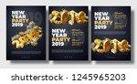 brochure set new year 2019... | Shutterstock .eps vector #1245965203