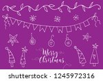 doodle christmas elements. hand ... | Shutterstock .eps vector #1245972316