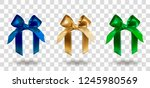 set of three blue  golden and... | Shutterstock .eps vector #1245980569
