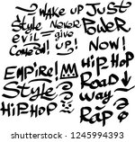 many graffiti tags on a white... | Shutterstock .eps vector #1245994393