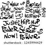 many graffiti tags on a white... | Shutterstock .eps vector #1245994429