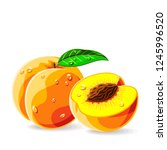 peaches whole a piece with leaf ... | Shutterstock .eps vector #1245996520