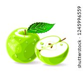 green fresh apples whole and... | Shutterstock .eps vector #1245996559