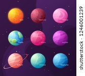 the solar system. colorful... | Shutterstock .eps vector #1246001239