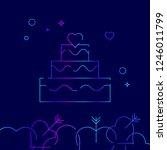 wedding cake vector line icon....