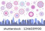 night city fireworks.... | Shutterstock .eps vector #1246039930