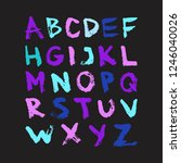 colorful vector ink alphabet.... | Shutterstock .eps vector #1246040026